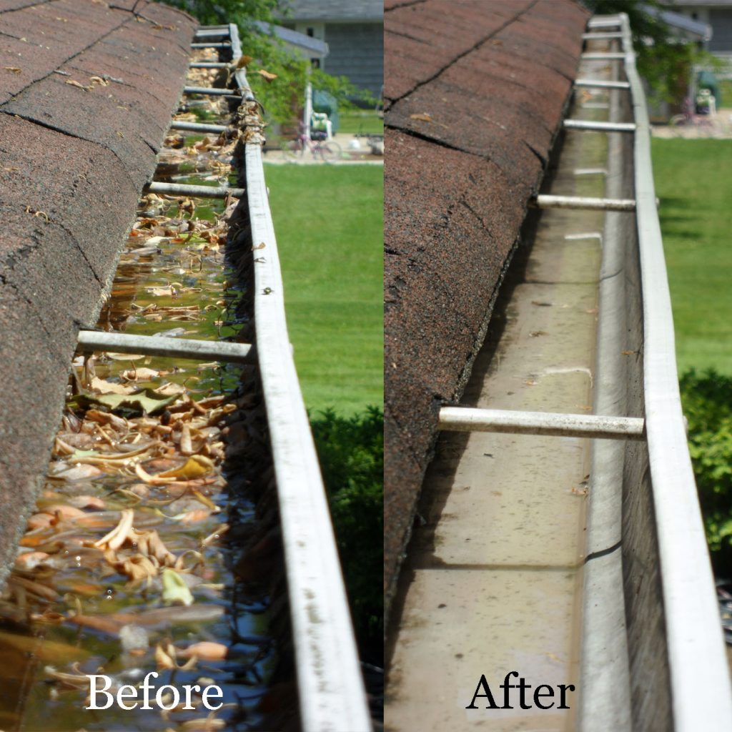 Before & After - all filth and leaves have been removed. Gutter Cleaning Ayrshire